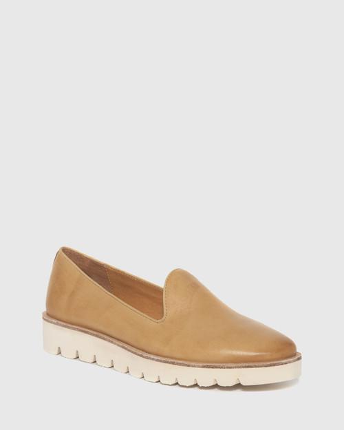 Becca Tan Leather Flatform Loafer. & Wittner & Wittner Shoes