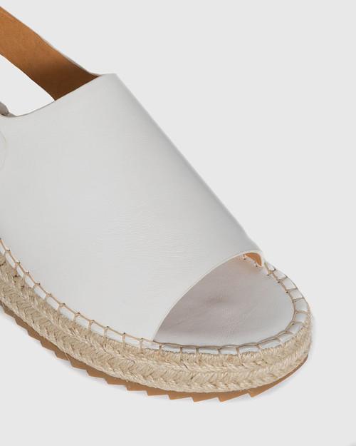 Laros White Leather Slingback Flatform Espadrille.