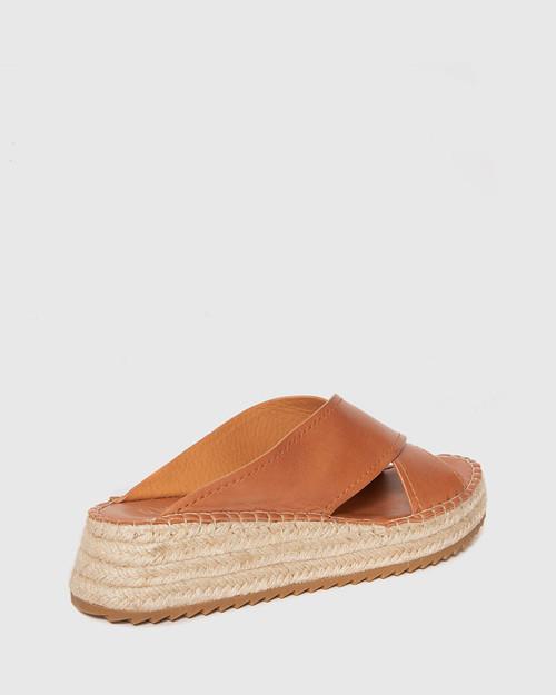 Laria Brandy Leather Slide Flatform Espadrille. & Wittner & Wittner Shoes