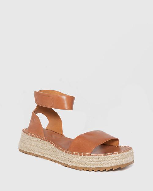 Larin Brandy Leather Ankle Strap Flatform Espadrille.