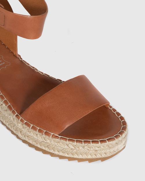 Larin Brandy Leather Ankle Strap Flatform Espadrille. & Wittner & Wittner Shoes