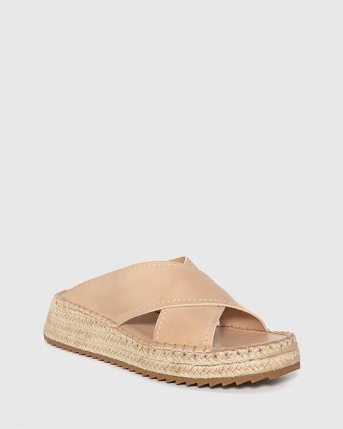 Laria Blush Leather Slide Flatform Espadrille.