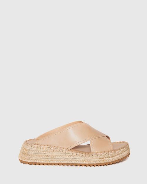 Laria Blush Leather Slide Flatform Espadrille. & Wittner & Wittner Shoes