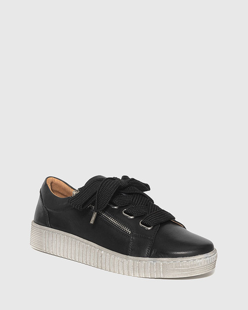 Jasmine Black Leather Lace Up Sneaker.