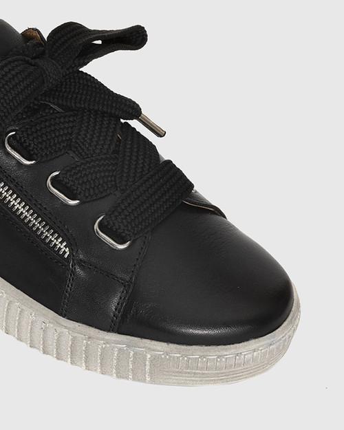 Jasmine Black Leather Lace Up Sneaker. & Wittner & Wittner Shoes
