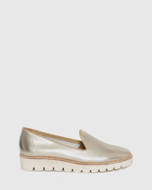 Becca Champagne Leather Flatform Loafer. & Wittner & Wittner Shoes