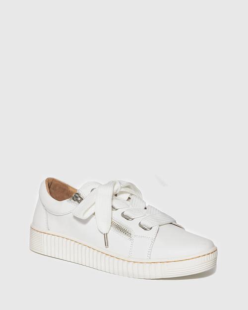 Jasmine White Leather Lace Up Sneaker. & Wittner & Wittner Shoes