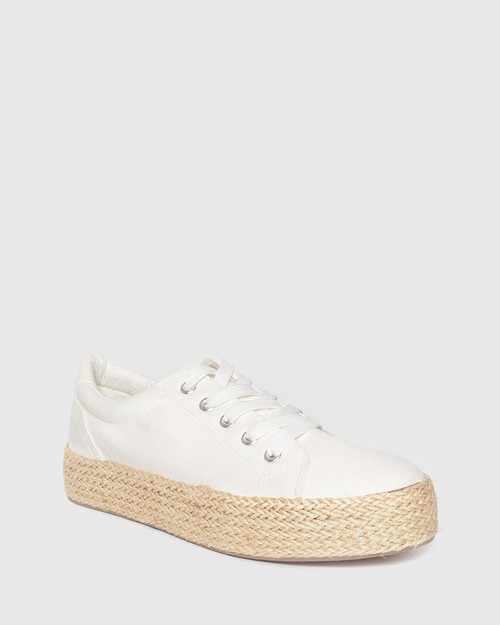 Ultra White Canvas Lace Up Espadrille Sneaker.