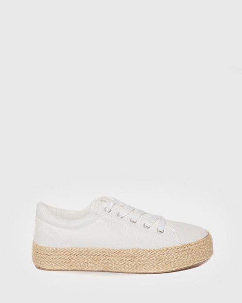 Ultra White Canvas Lace Up Espadrille Sneaker. & Wittner & Wittner Shoes