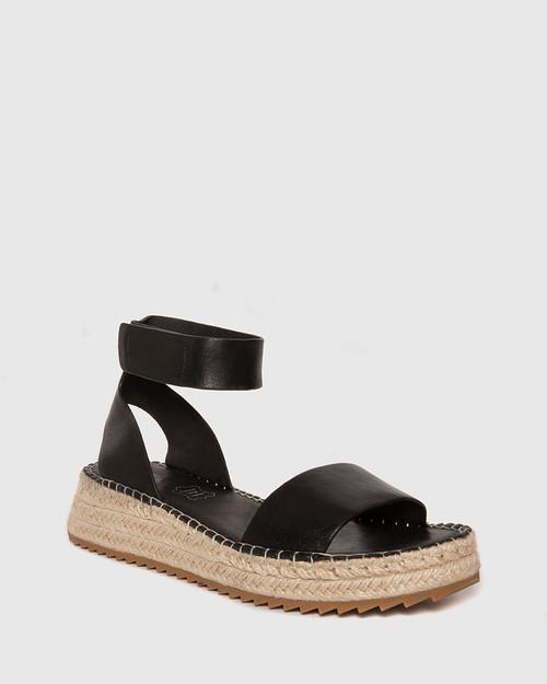 Larin Black Leather Ankle Strap Flatform Espadrille.