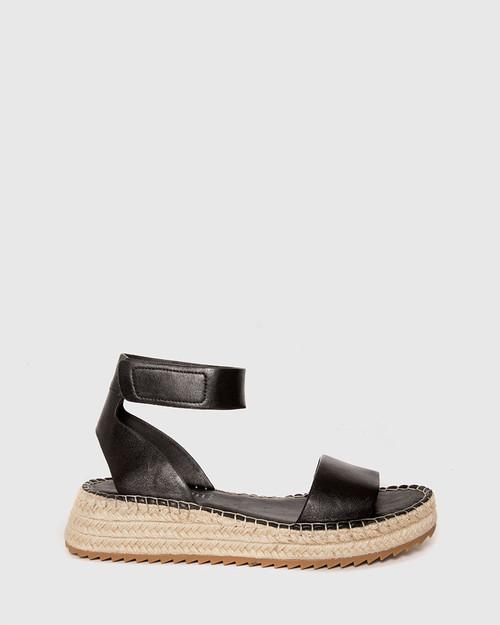 Larin Black Leather Ankle Strap Flatform Espadrille. & Wittner & Wittner Shoes