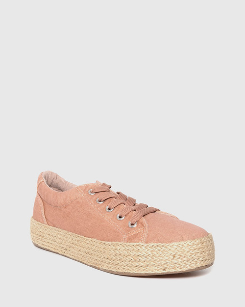 Ultra Blush Canvas Lace Up Espadrille Sneaker.