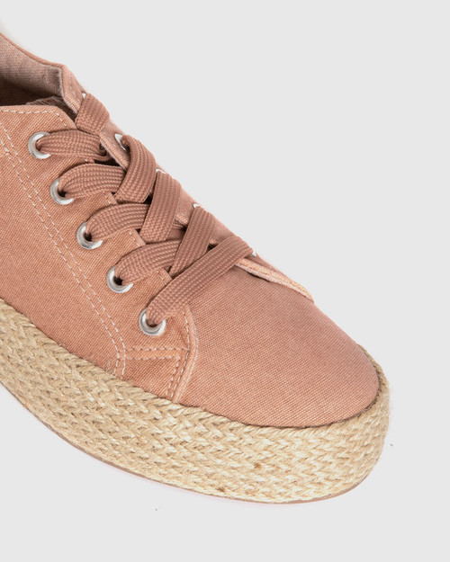 Ultra Blush Canvas Lace Up Espadrille Sneaker. & Wittner & Wittner Shoes