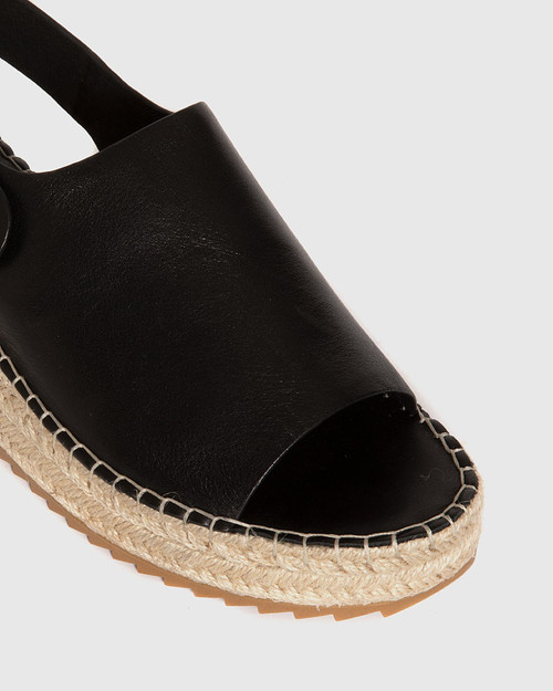 Laros Black Leather Slingback Flatform Espadrille. & Wittner & Wittner Shoes