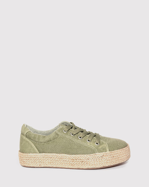 Ultra Sage Canvas Lace Up Espadrille Sneaker. & Wittner & Wittner Shoes