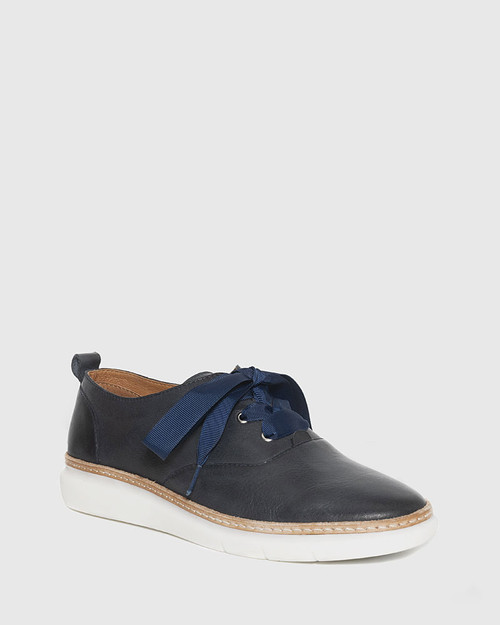 Easy Navy Leather Lace Up Sneaker. & Wittner & Wittner Shoes