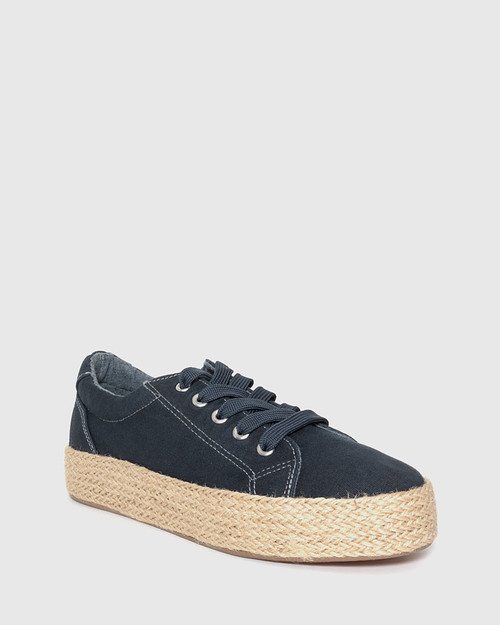 Ultra Navy Canvas Lace Up Espadrille Sneaker.
