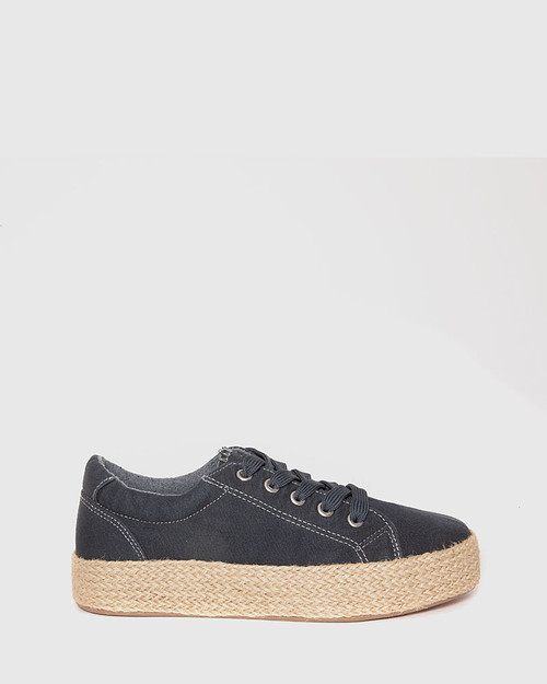 Ultra Navy Canvas Lace Up Espadrille Sneaker. & Wittner & Wittner Shoes