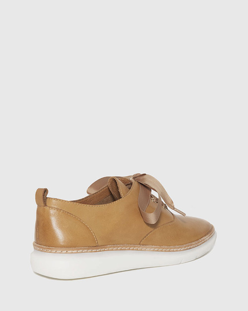 Easy Tan Leather Lace Up Sneaker. & Wittner & Wittner Shoes