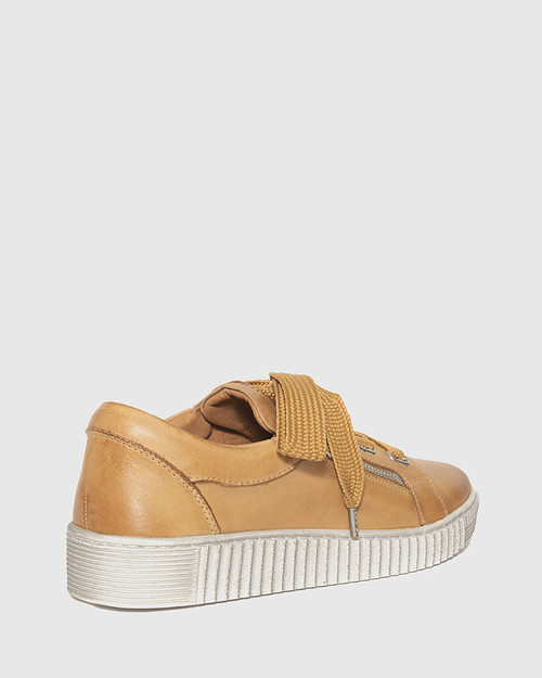 Jasmine Tan Leather Lace Up Sneaker. & Wittner & Wittner Shoes