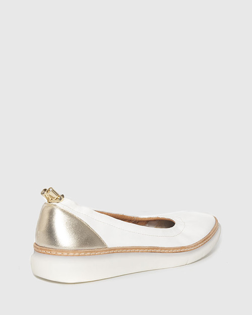 Ease White & Champagne Leather Almond Toe Flat. & Wittner & Wittner Shoes