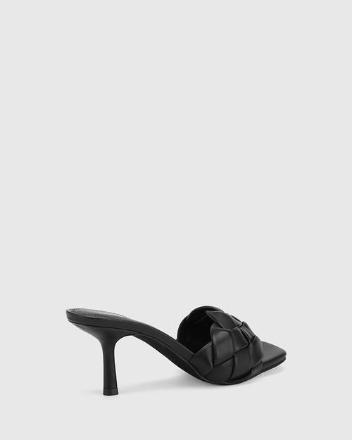 Combs Black Woven Leather Stiletto Heel Sandal. & Wittner & Wittner Shoes