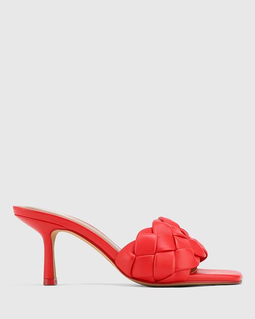 Combs Red Woven Leather Stiletto Heel Sandal. & Wittner & Wittner Shoes
