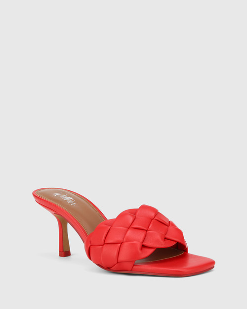 Combs Red Woven Leather Stiletto Heel Sandal.