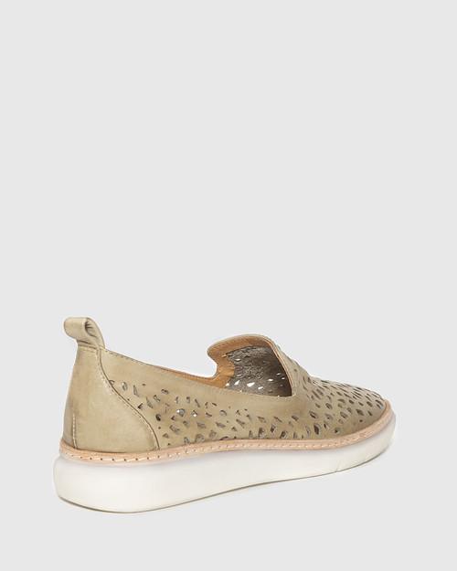 East Sage Leather Almond Toe Loafer. & Wittner & Wittner Shoes