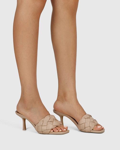 Combs New Flesh Woven Leather Stiletto Heel Sandal. & Wittner & Wittner Shoes