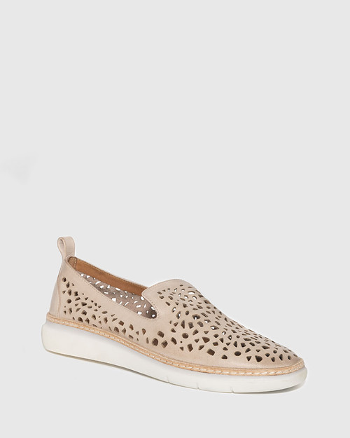 East Blush Leather Almond Toe Loafer.