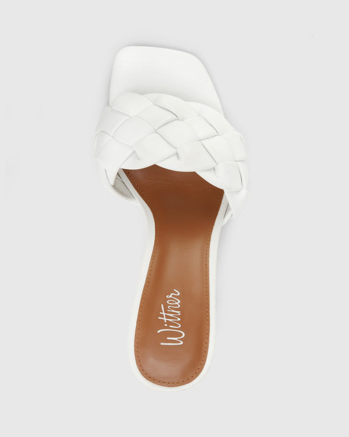 Combs White Woven Leather Stiletto Heel Sandal. & Wittner & Wittner Shoes