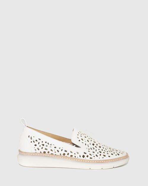 East White Leather Almond Toe Loafer. & Wittner & Wittner Shoes