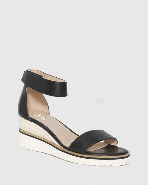 Lazy Black Leather Ankle Strap Wedge Sandal.