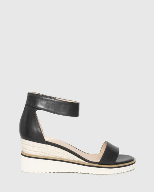 Lazy Black Leather Ankle Strap Wedge Sandal. & Wittner & Wittner Shoes