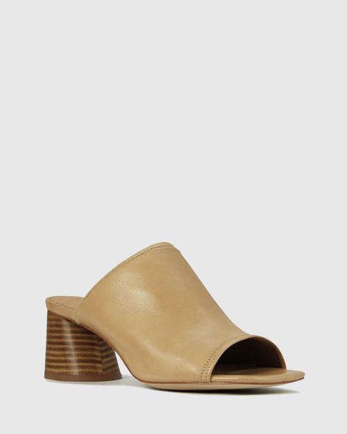 Petti Tan Leather Flared Heel Sandal.