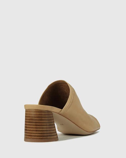 Petti Tan Leather Flared Heel Sandal. & Wittner & Wittner Shoes