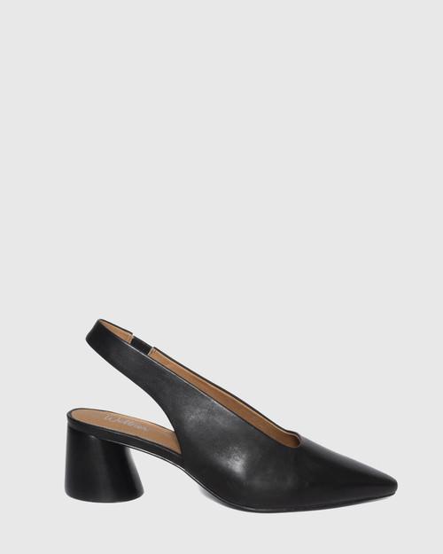 Hales Black Leather Flared Heel Slingback. & Wittner & Wittner Shoes