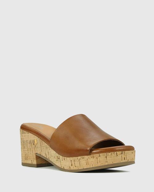 Bleet Brandy Leather Cork Platform Sandal.