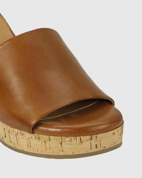 Bleet Brandy Leather Cork Platform Sandal. & Wittner & Wittner Shoes