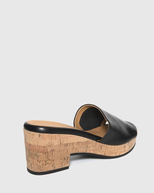 Bleet Black Leather Cork Platform Sandal. & Wittner & Wittner Shoes