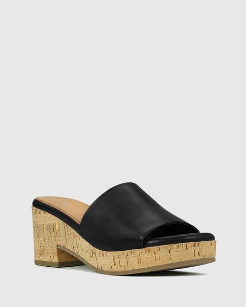 Bleet Black Leather Cork Platform Sandal.