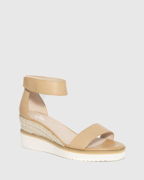 Lazy Tan Leather Ankle Strap Wedge Sandal.