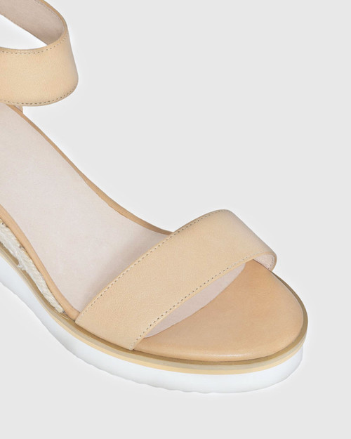 Lazy Tan Leather Ankle Strap Wedge Sandal. & Wittner & Wittner Shoes