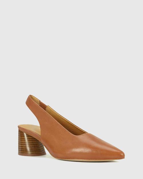 Hales Brandy Leather Flared Heel Slingback.