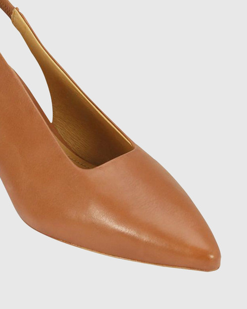 Hales Brandy Leather Flared Heel Slingback.