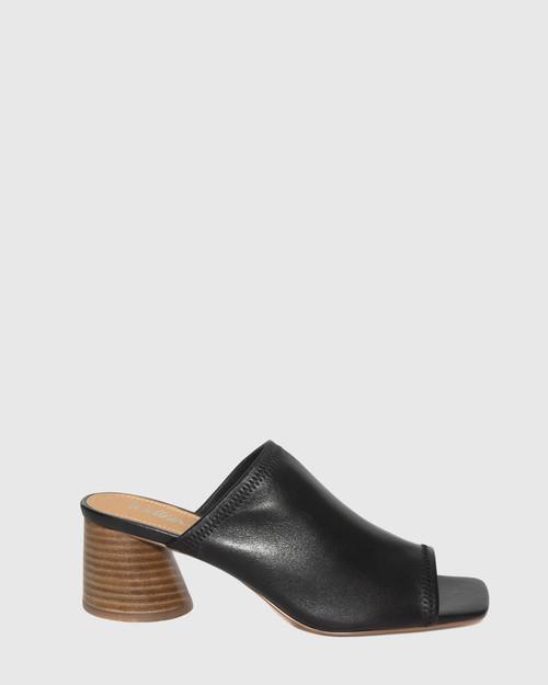 Petti Black Leather Flared Heel Sandal. & Wittner & Wittner Shoes