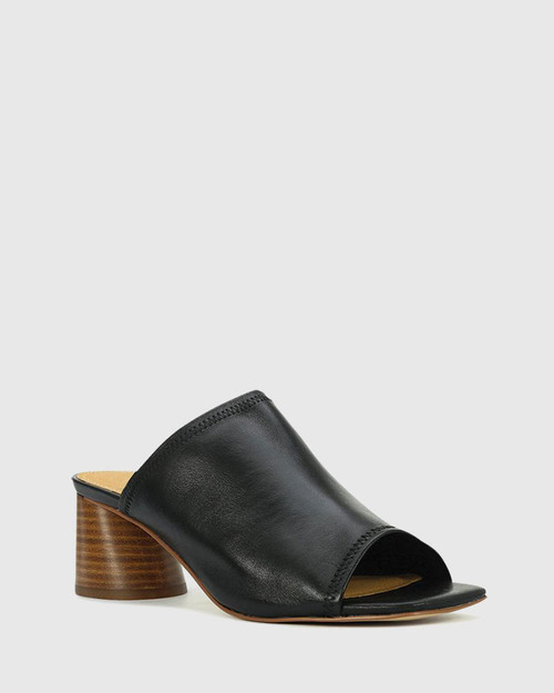 Petti Black Leather Flared Heel Sandal.