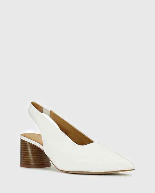 Hales White Leather Flared Heel Slingback.