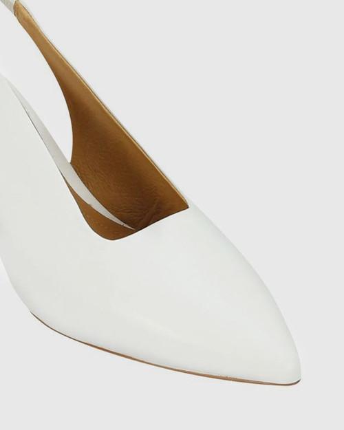 Hales White Leather Flared Heel Slingback.